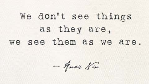 """We Don't See Things As They Are, We See Them As We Are"" – anonymous"